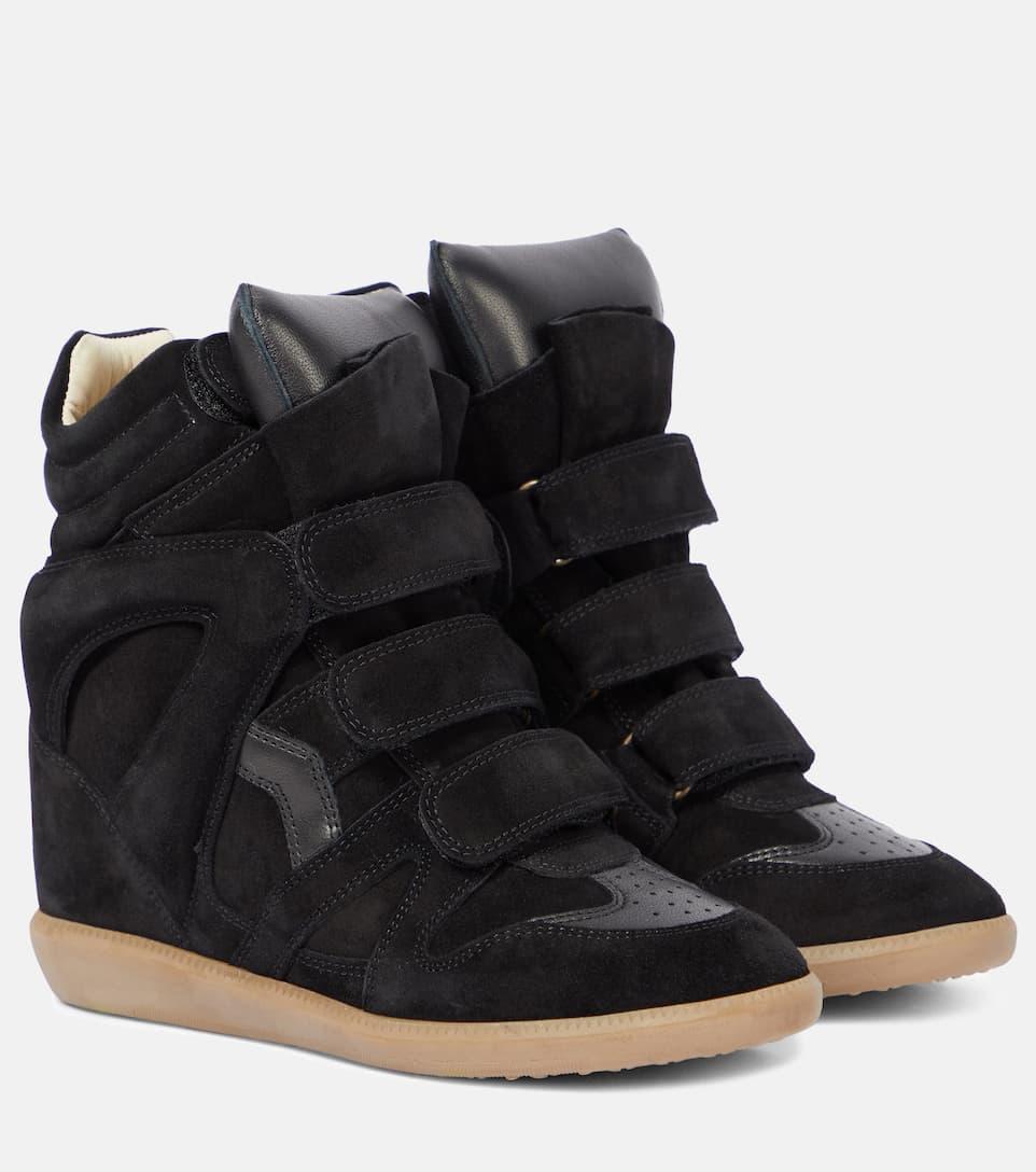 Isabel Marant Étoile Bekett Wedge-Sneakers aus Veloursleder Verkauf 0vEMahPj