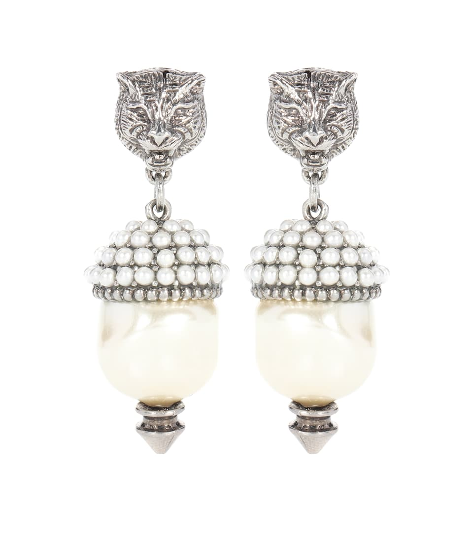 Feline Earrings With Faux Pearls in Metallic