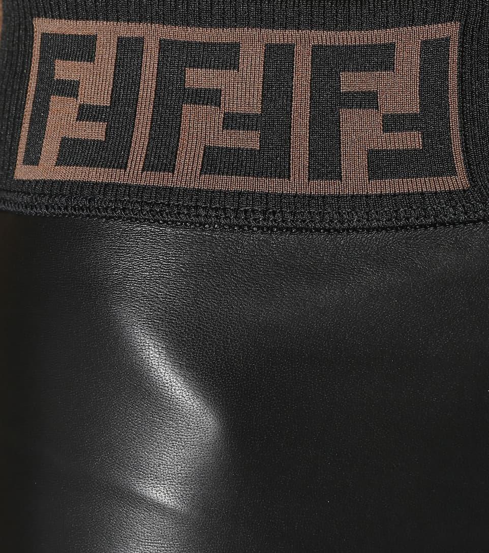de pantalones cuero cuero de Fendi negro pantalones Fendi negro XOqSEwq