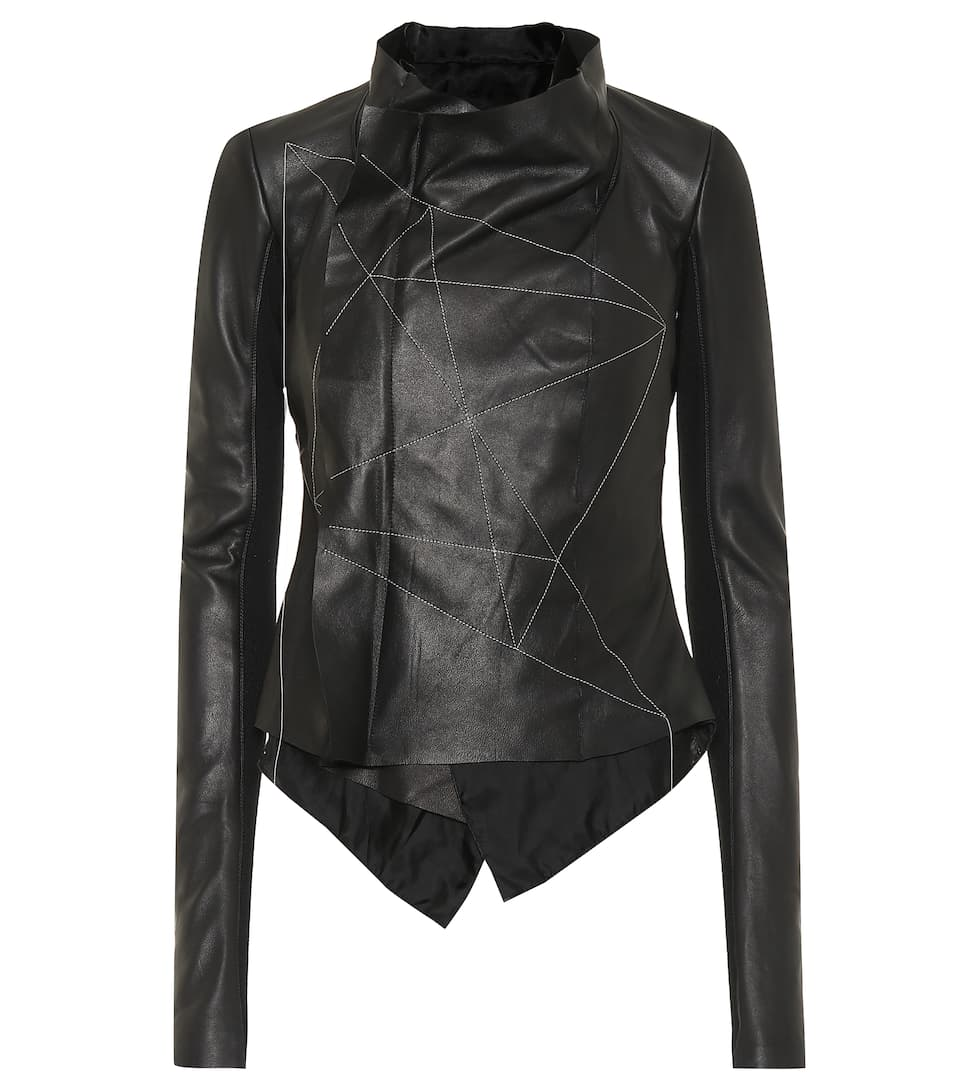 Rick Owens - Embroidered leather jacket  782828533