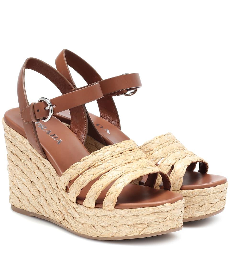 4bd4f619d70 Leather Espadrille Wedge Sandals - Prada | mytheresa