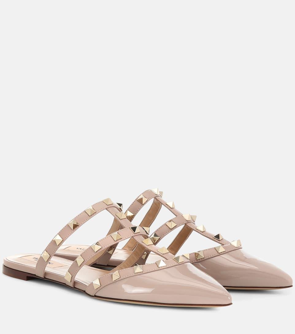 20198358077 Valentino Garavani Rockstud Patent Leather Slippers