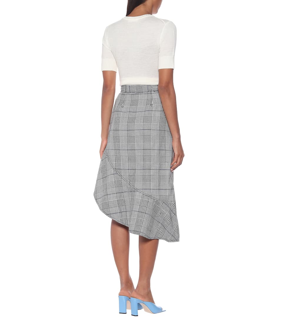 Self-Portrait - Checked flounced midi skirt