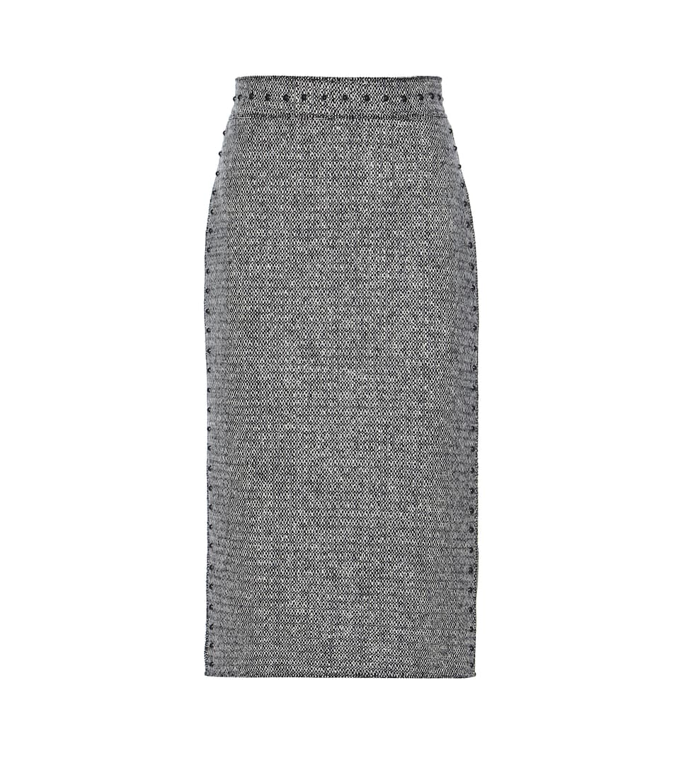 Valentino Embellished wool tweed pencil skirt