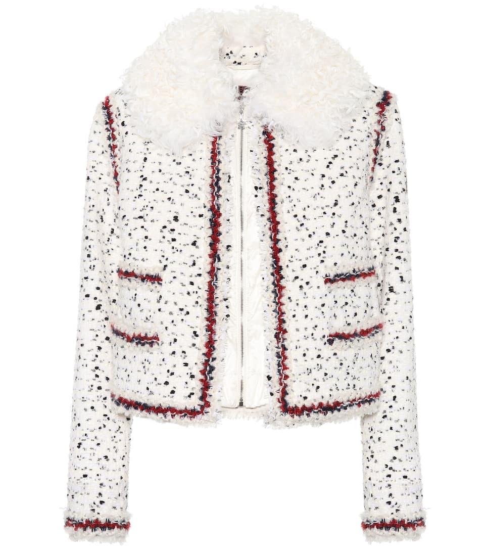 RougeMytheresa Laine N° Nynke Tweed De En Artnbsp;p00284343 Mélangée Moncler Veste Gamme KF1J3Tlc