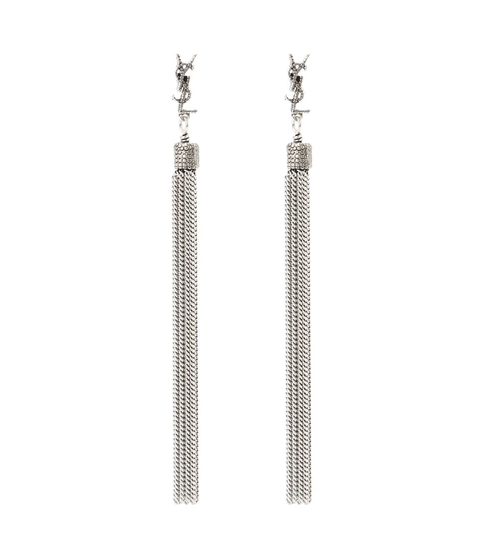 Saint Laurent Loulou Chain Tassel Earrings