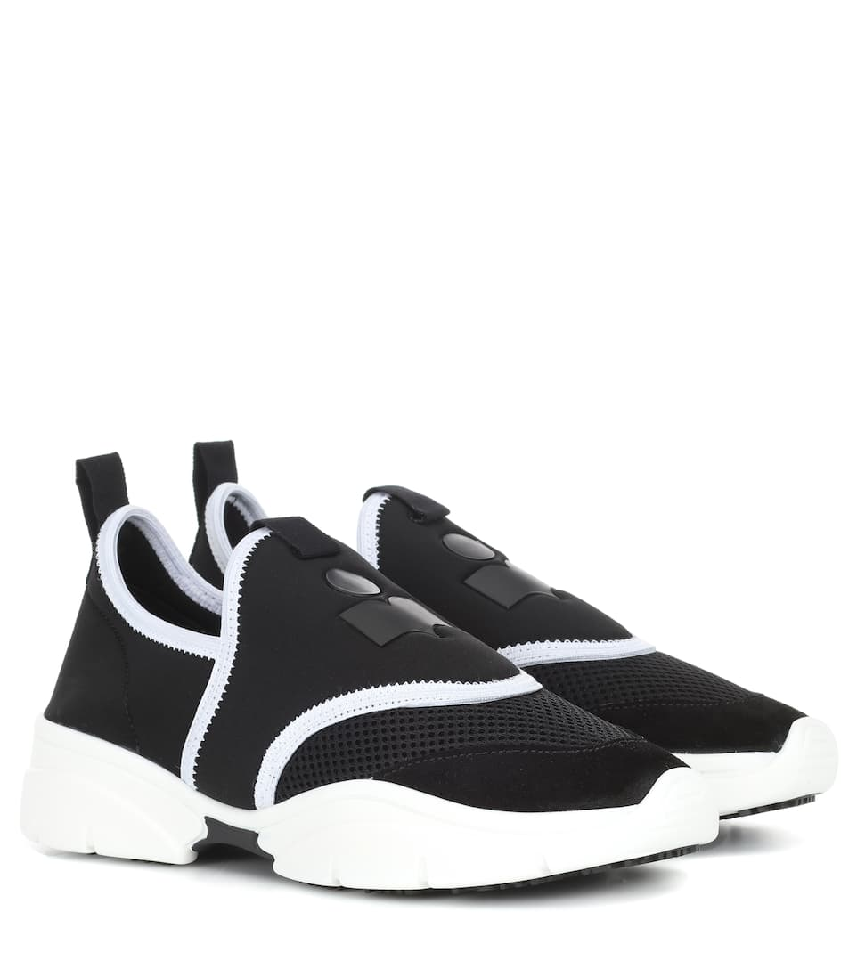 Kaisee Neoprene, Mesh And Suede Trainers, Fr40 in 01Bk Black