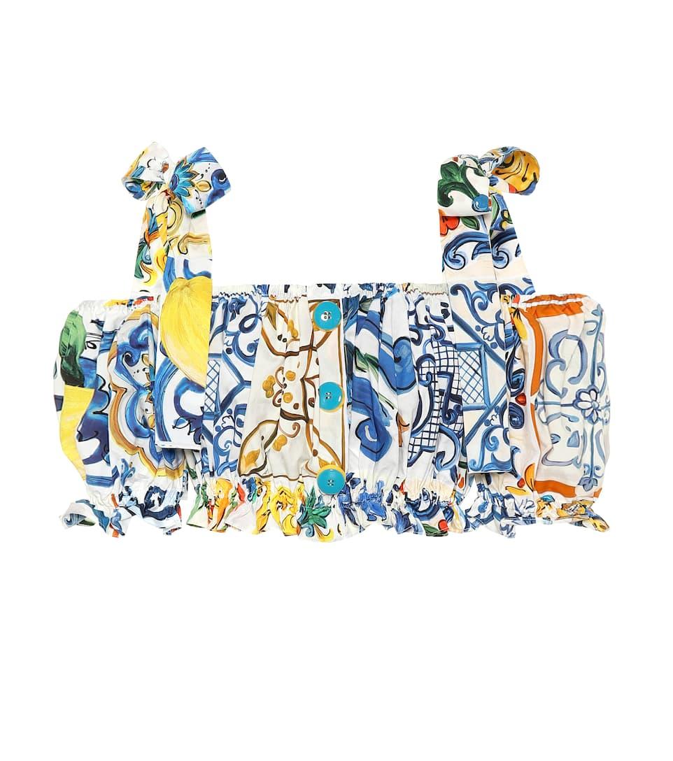 d7febd449df5dc Majolica-Print Cotton Top - Dolce   Gabbana