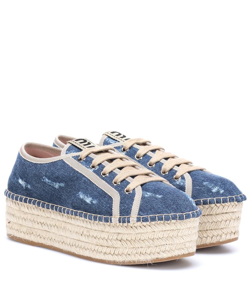 Denim Espadrille Platform Sneakers