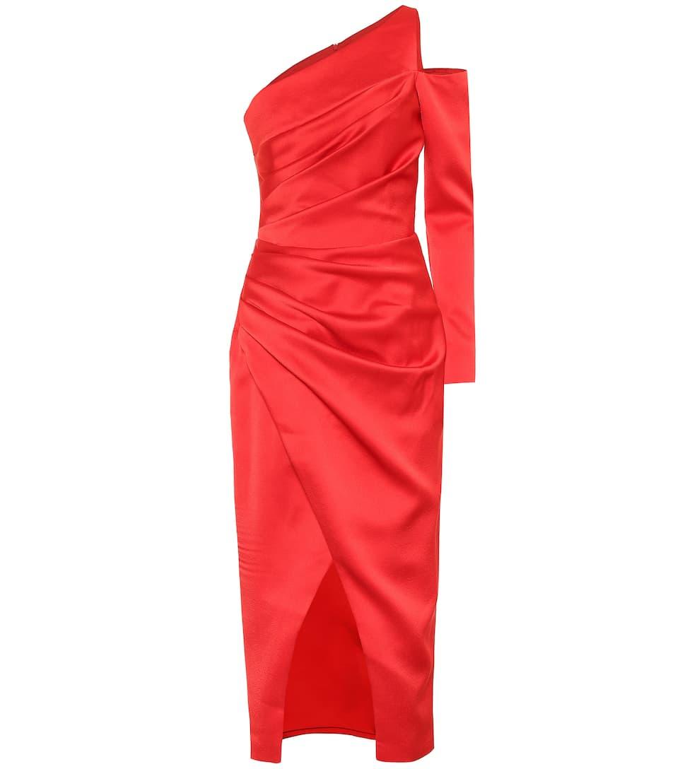 one-shoulder satin midi dress