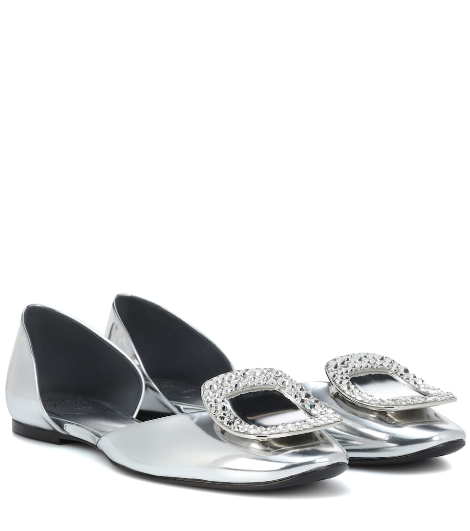 Chips Crystal Embellished Metallic Leather Ballerinas by Roger Vivier