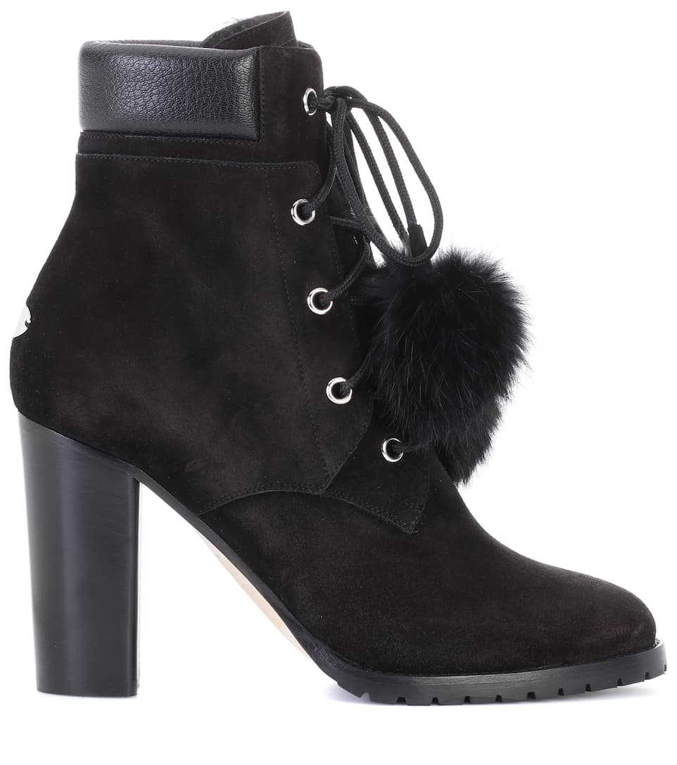 Fashionable Cheap Online Cheap Sale Marketable Jimmy Choo Elba 95 fur-lined suede boots Black wEdK8tI