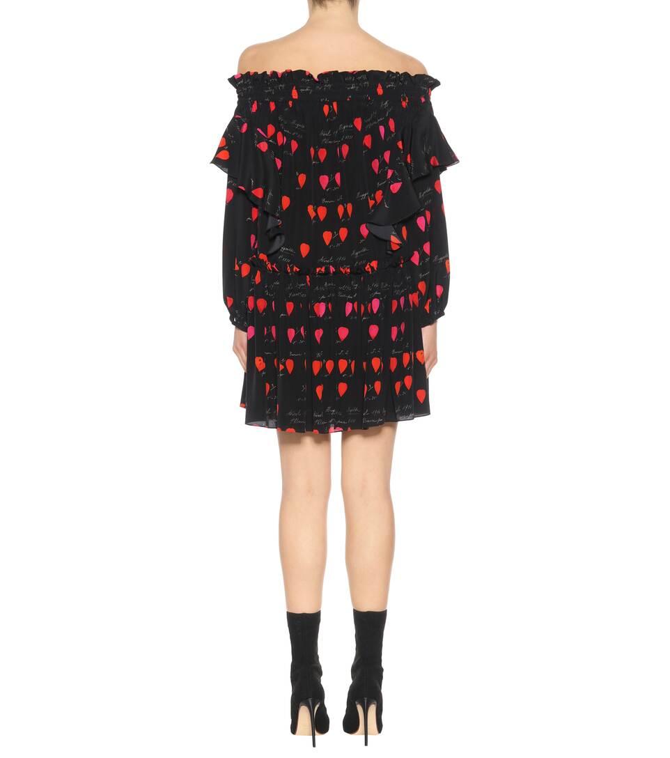 Alexander McQueen Off-Shoulder-Kleid in Minilänge aus Seide