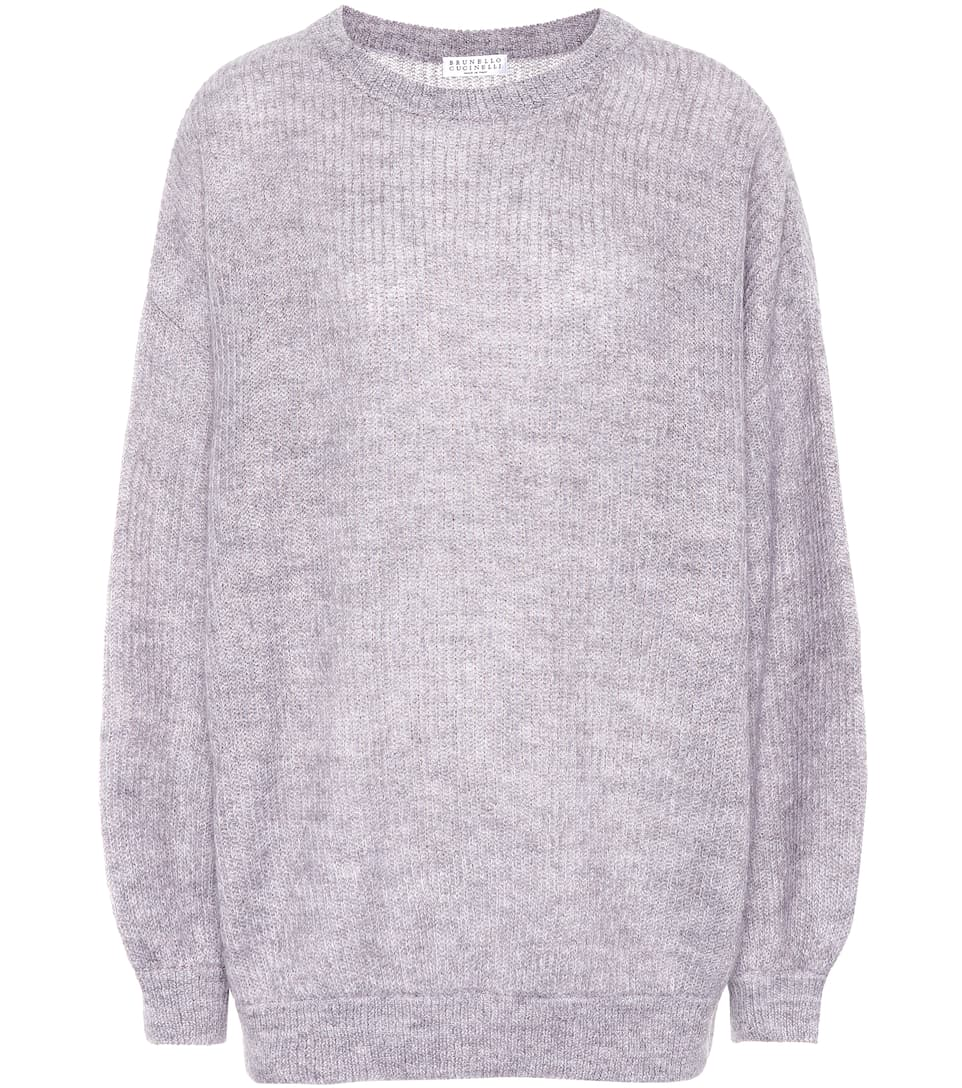 METALLIC MOHAIR-BLEND SWEATER