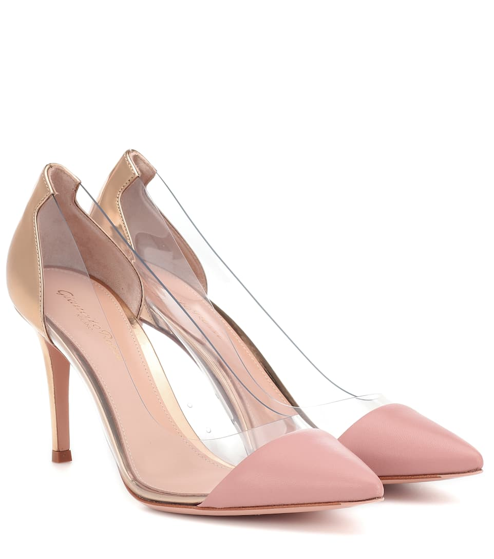 Plexi 85 Suede And Leather Pumps by Gianvito Rossi