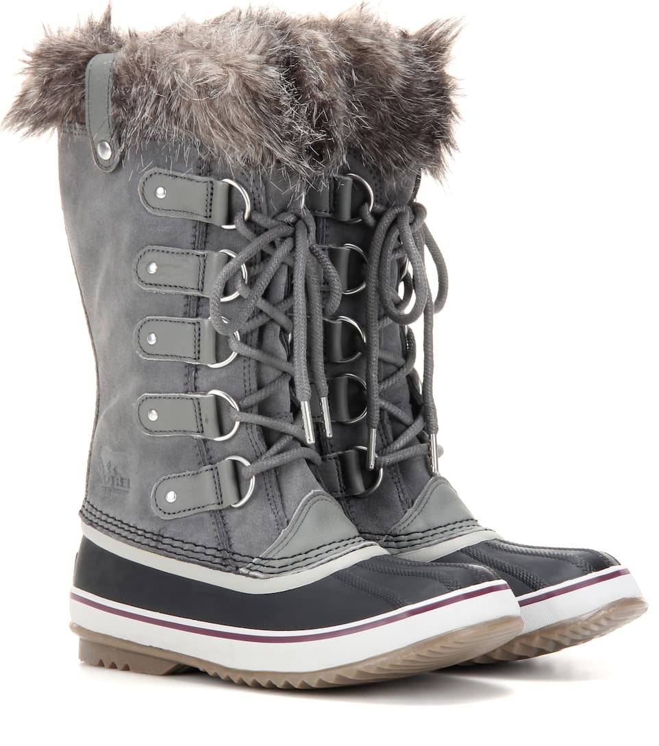 Sorel Joan of Arctic™ shearling-trimmed suede and rubber boots