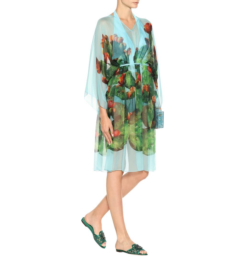 Dolce & Gabbana Exklusiv bei mytheresa.com –  Kaftan aus Seide mit Print