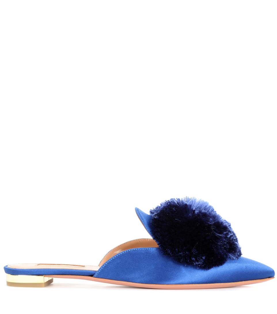 Aquazzura Slippers Powder Puff aus Satin