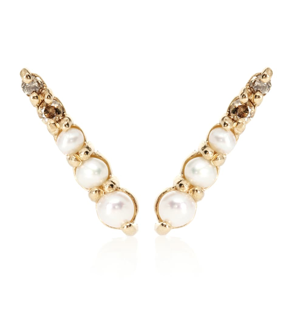 Boucles D'oreilles En Or 14 Ct, Perles Et Diamants Pavé Pointe