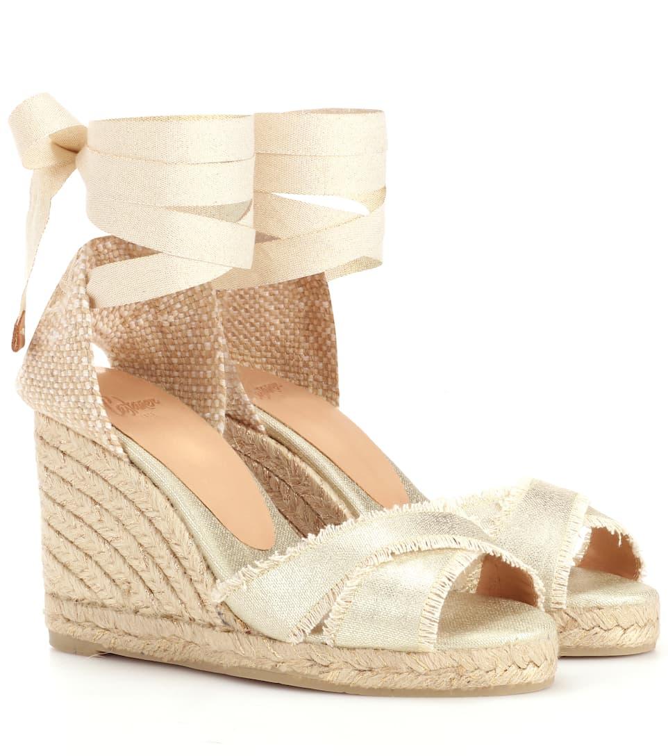 970269ce484d CastaÑer ankle tie espadrille wedge sandals metallic modesens jpg 962x1088 Ankle  tie espadrille wedge sandal