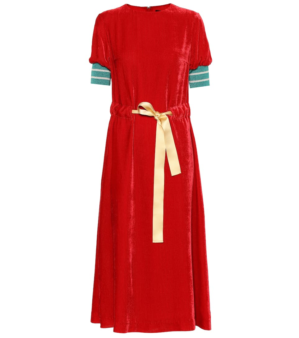 5458d0368f23 Silk-Blend Velvet Midi Dress - Undercover | mytheresa.com
