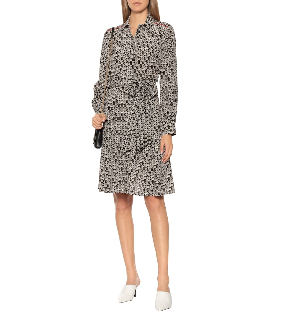 Salvatore Ferragamo - Gancini printed silk dress