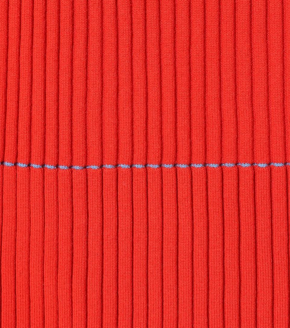 Victoria Beckham Ribbed Midi Rock Wool