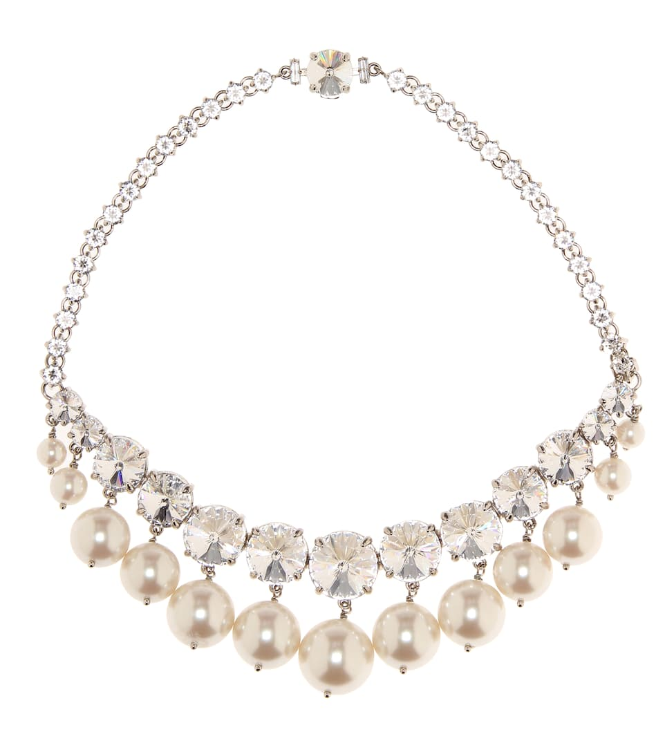 4b5c29950a9c Crystal And Faux-Pearl Necklace - Miu Miu