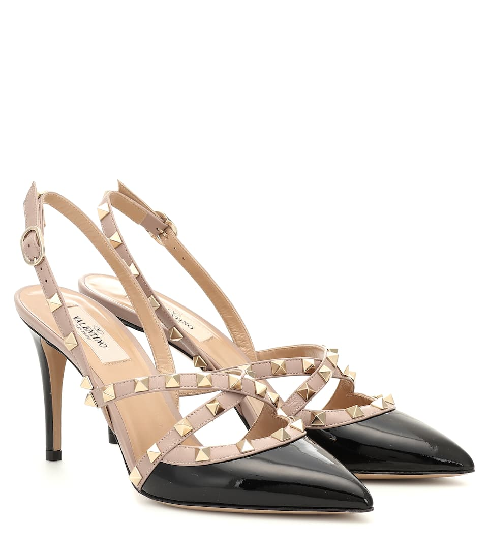 Valentino Garavani Rockstud Patent Leather Slingback Pumps by Valentino