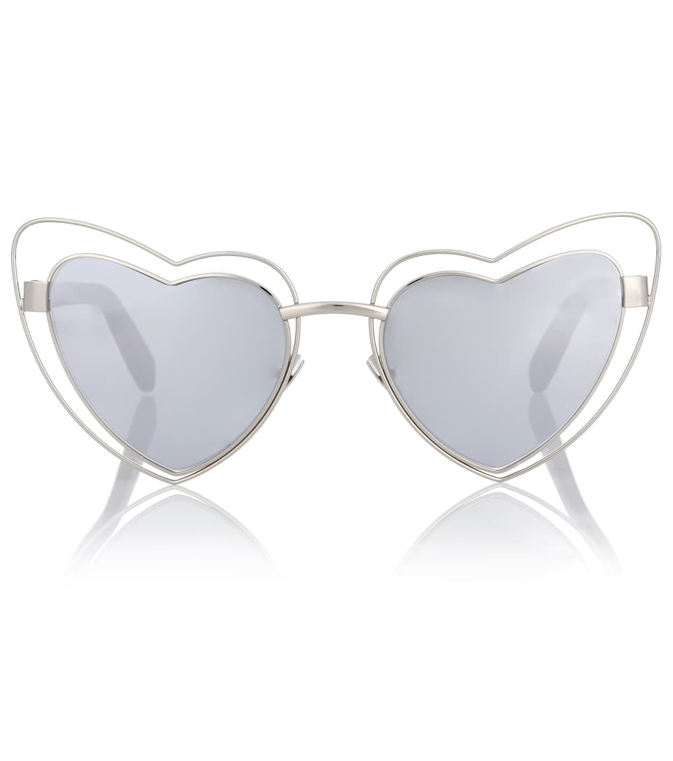 Sl197 Loulou 57Mm Heart Shaped Sunglasses - Silver