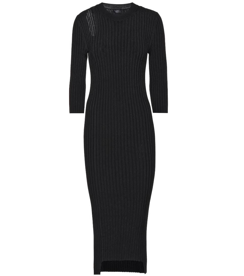 Cotton Blend Ribbed Knit Midi Dress by Joseph