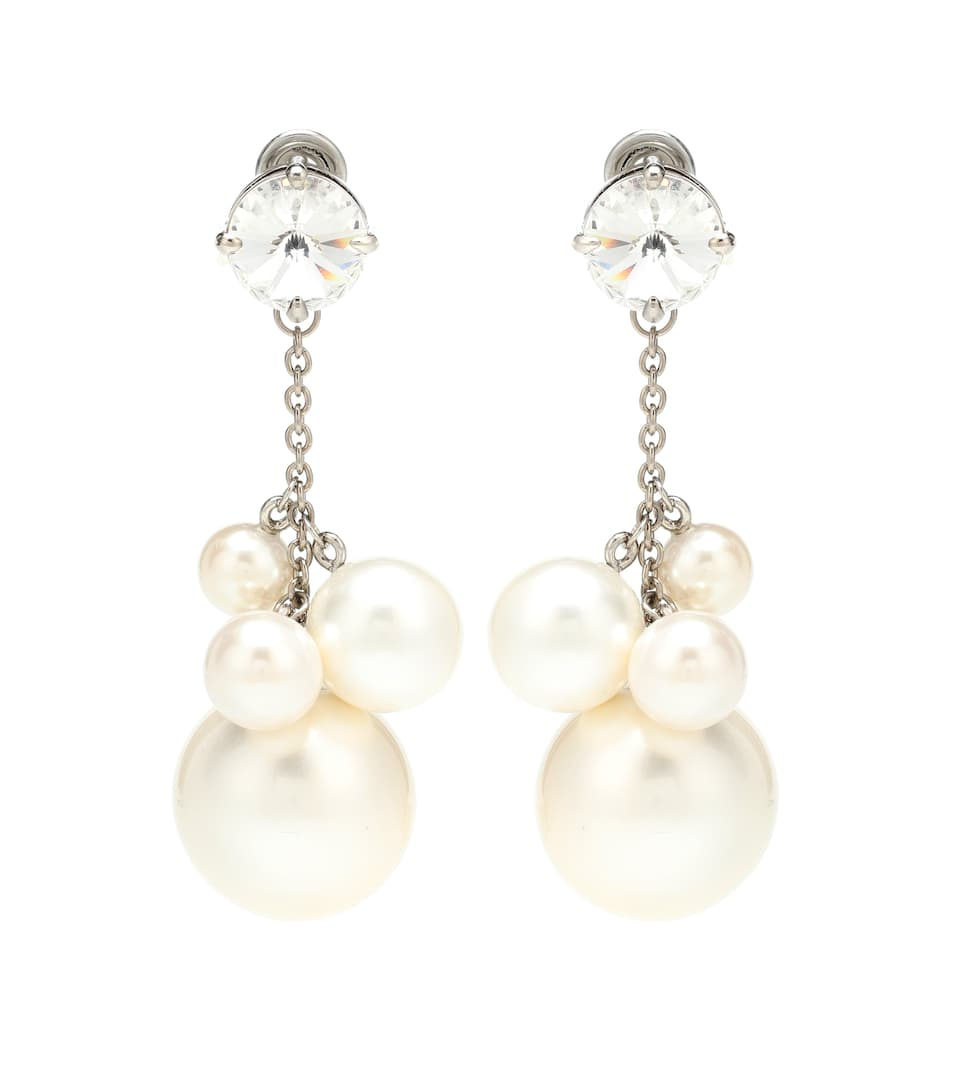 Miu Miu - Faux pearl and crystal earrings