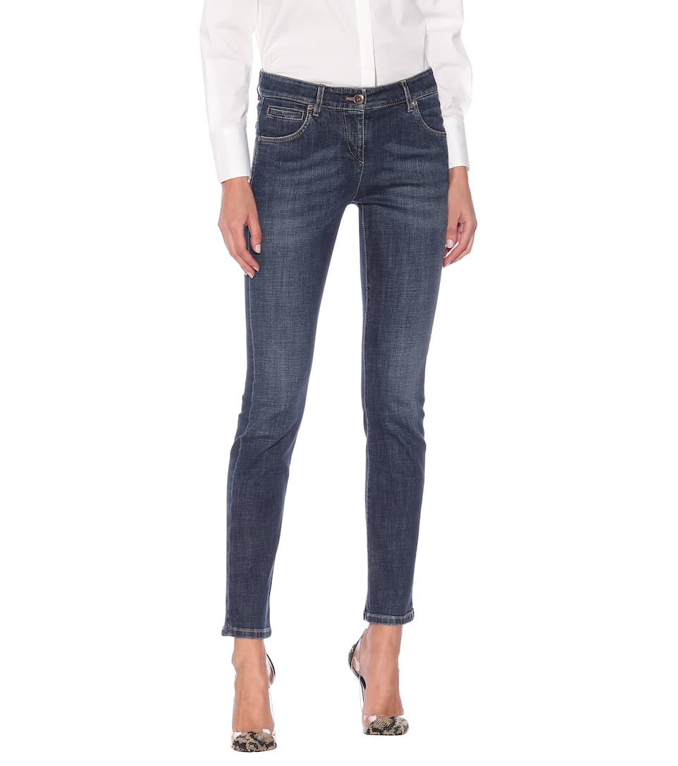 Brunello Cucinelli - Embellished low-rise skinny jeans