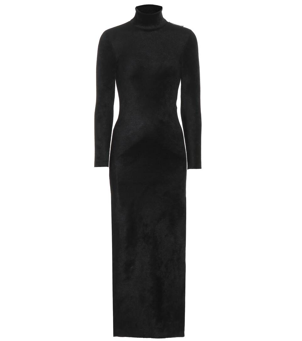 20a915ab360 Turtleneck Stretch-Velvet Dress - Balenciaga