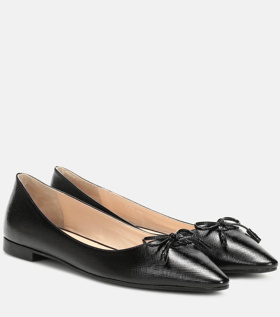 Embossed Leather Ballet Flats - Prada