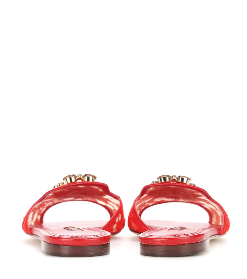 Dolce & Gabbana Verzierte Sandalen Bianca aus Spitze