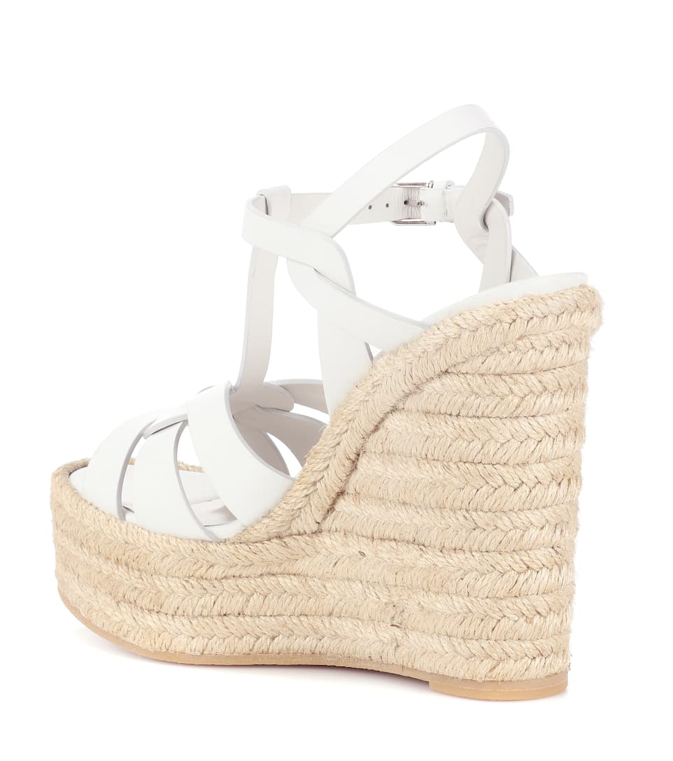 Saint Laurent Espadrille Sandals With Wedge Heel Of Leather