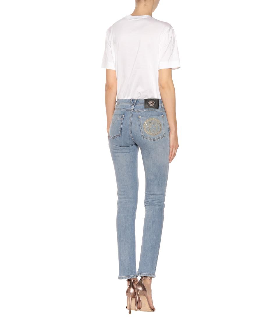 Versace Verzierte Jeans aus Stretch-Baumwolle