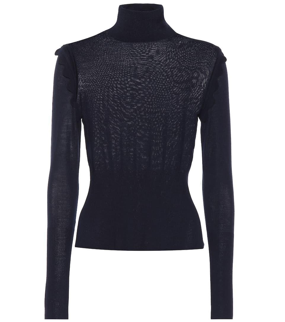 Chloé Wool turtleneck top Iconic Navy Clearance Low Cost EO6Qb
