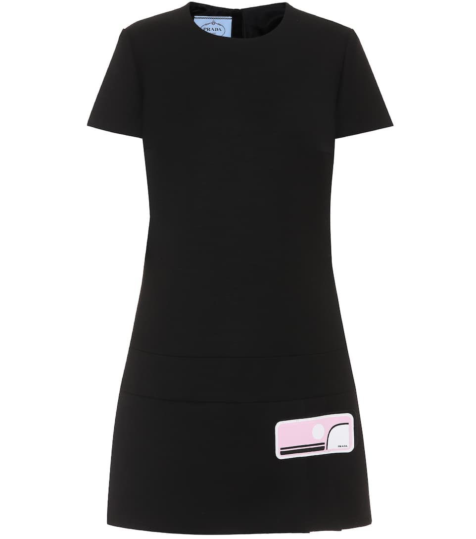 Prada Rubber-appliquÉd Wool-crepe Dress In Black