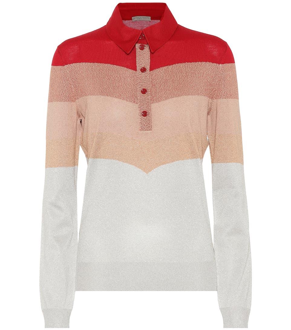 Striped metallic wool-blend sweater Bottega Veneta Cheap Low Price Fee Shipping Fake Cheap Price For Cheap 4fCYPkpRFw