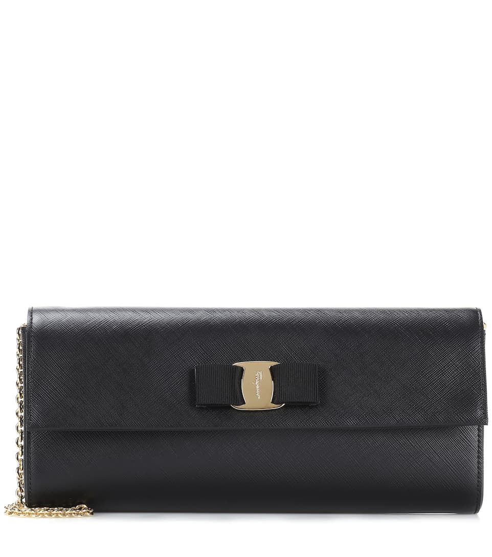Salvatore Ferragamo Ginny leather clutch