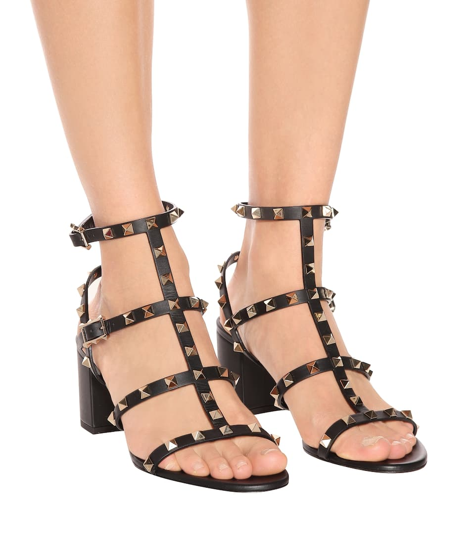 Valentino Valentino Garavani Blockabsatz-Sandaletten Rockstud aus Leder Ebay Verkauf Online Verkauf Original Footlocker Finish aB91o