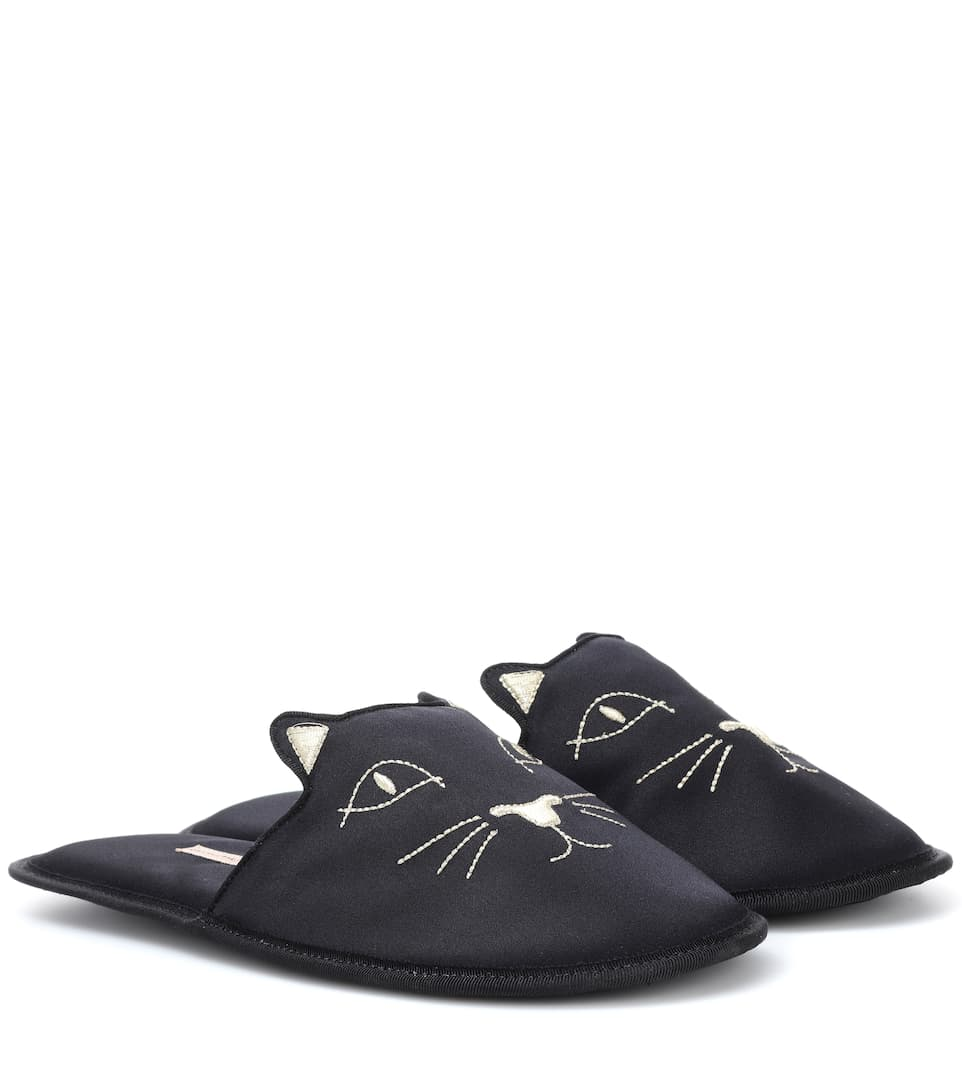 Charlotte Olympia Slippers House Cats aus Satin