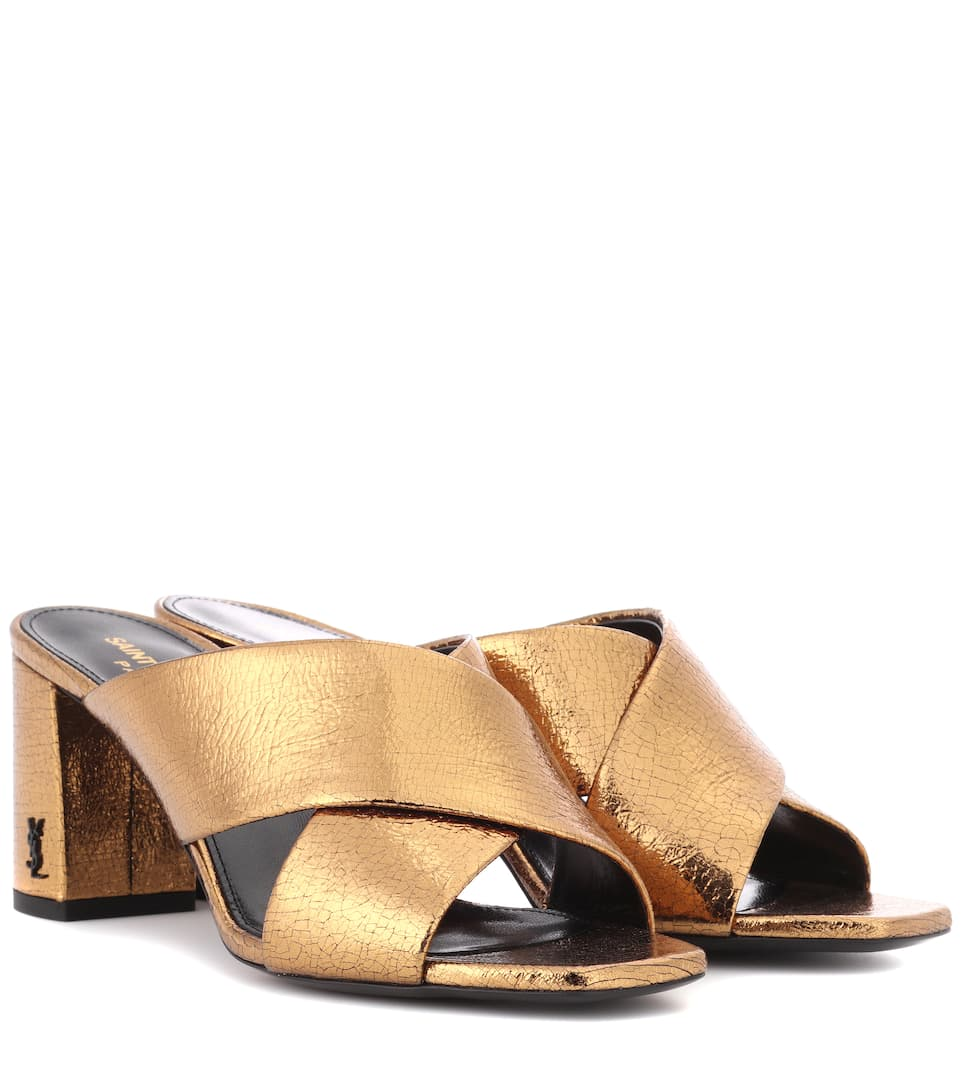 Saint Laurent Mules Loulou 70 From Metallic Leather