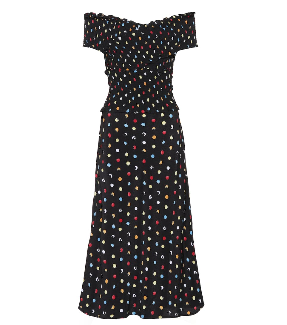 RUNWAY ANNA OCTOBER Polka-dot off-the-shoulder dress