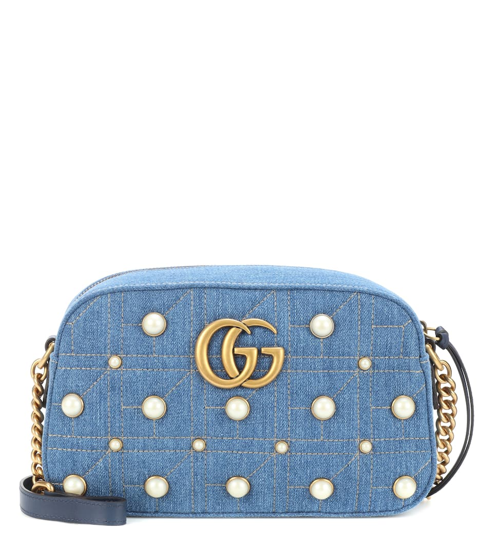 GG MARMONT SMALL DENIM SHOULDER BAG
