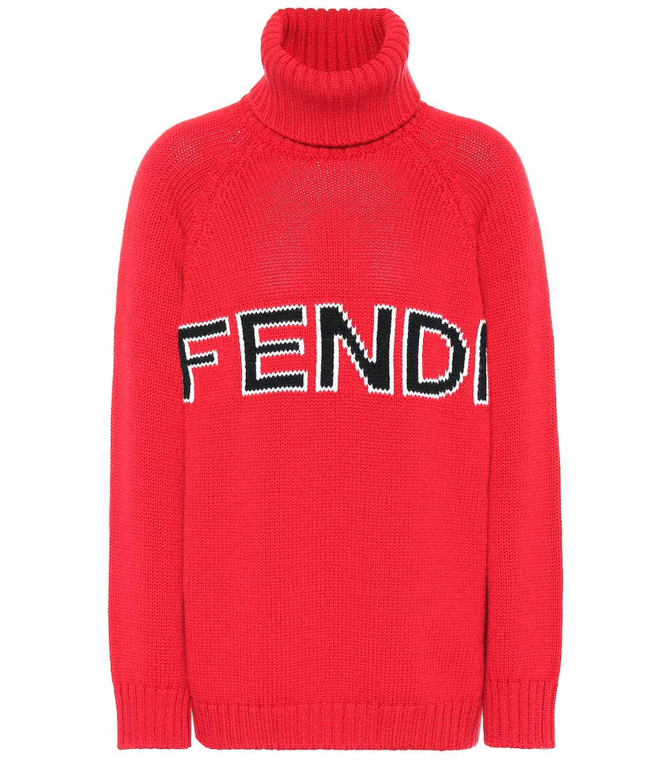 Logo Wool Turtleneck Sweater by Fendi