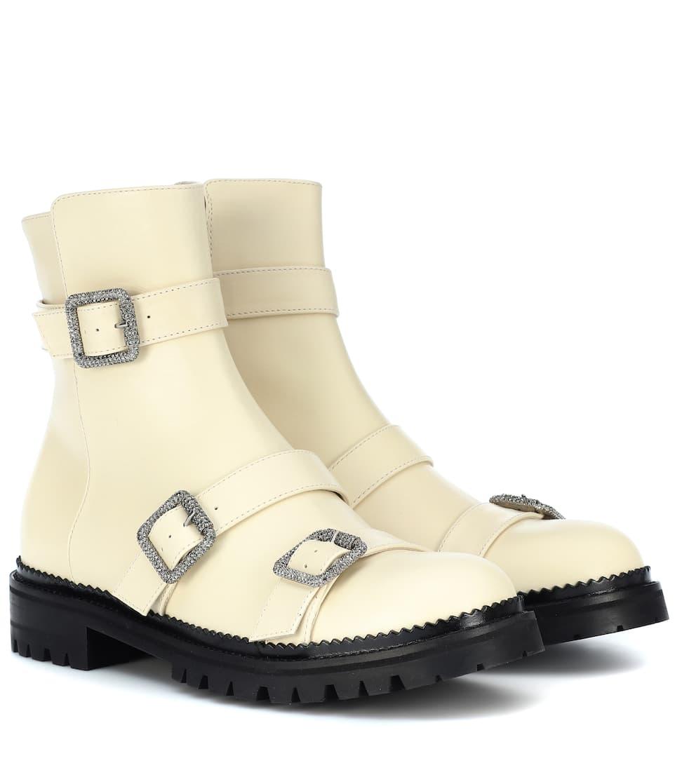 9260f9b7ce6c Hank Flat Leather Ankle Boots - Jimmy Choo