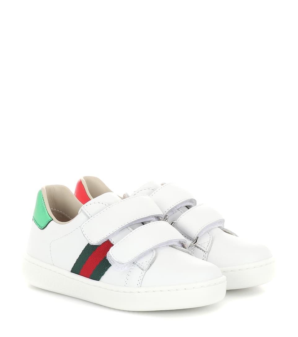 ca297c6308b Web Leather Sneakers - Gucci Kids